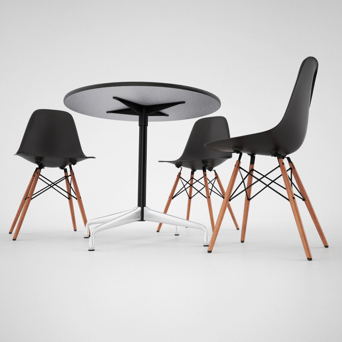 Vitra dsw chair and eames table 3d model max obj fbx for Chaise eames dsw vitra