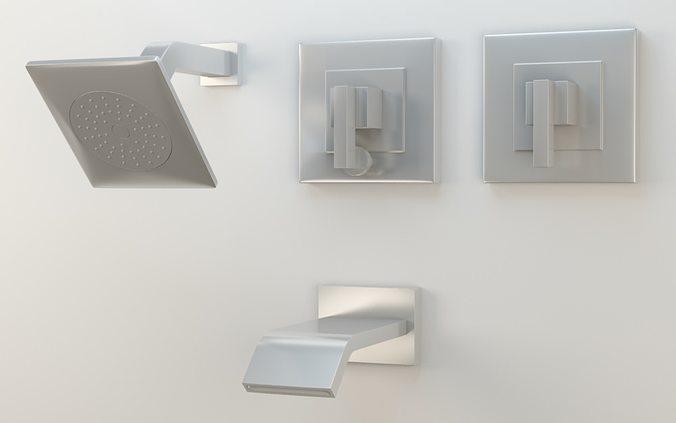 Kohler Loure Rite-Temp bath shower trim set semi polished chrome 3D ...