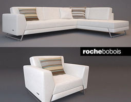 3d roche bobois satelis canape sofa and armchair