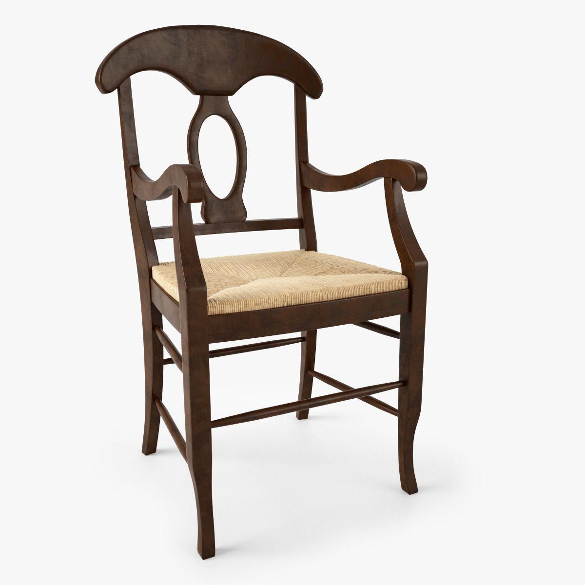 Pottery Barn Napoleon Rush Seat Chair 3d Model Max Obj Mtl 1 ...