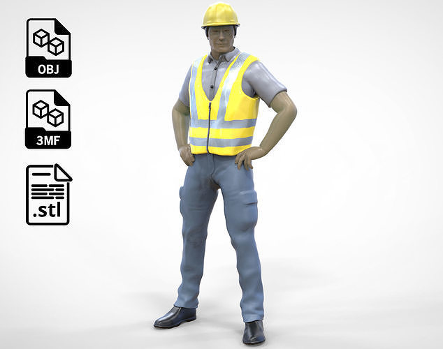 N3 Construction Worker 1 64 Miniature standing