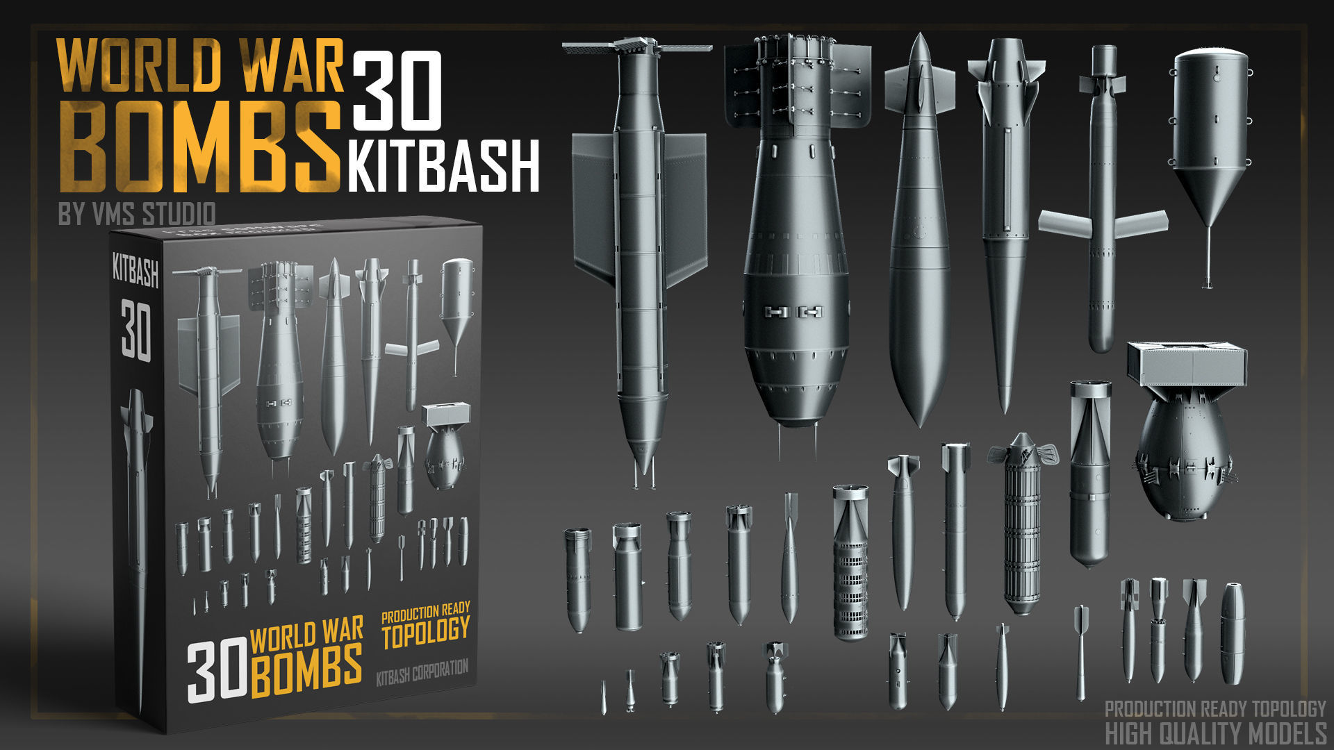 World War Bombs KITBASH bundle -30 Unique Rockets and Bombs