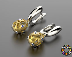 3d printable model easter eggs collection earrings set 7 with gems 0140