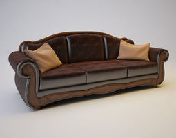 Barcelona Antique Sofa 3D Model