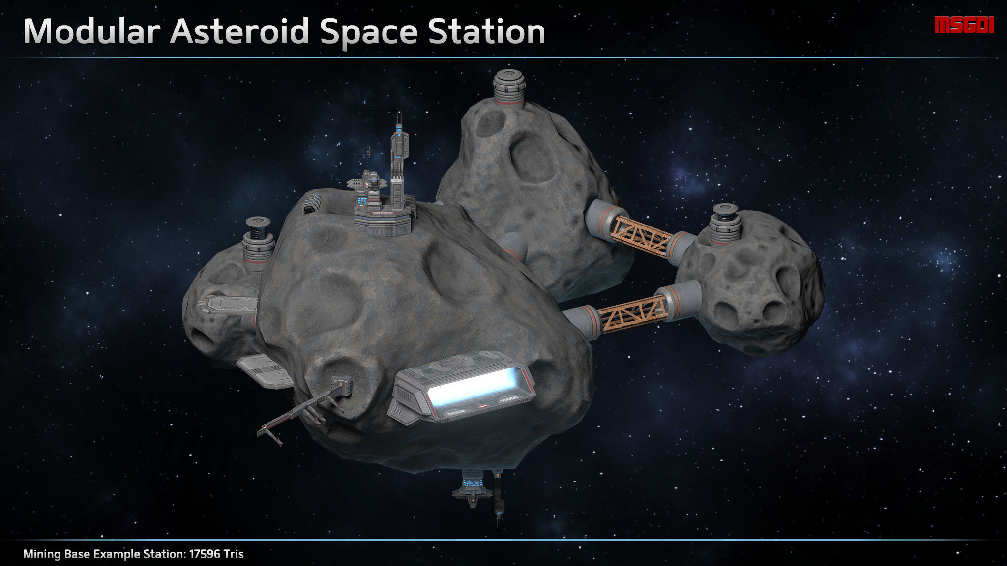 Scifi Modular Asteroid Space Station