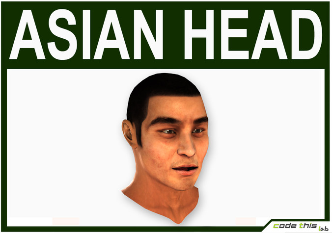 Low Poly Asian Male Head3D model