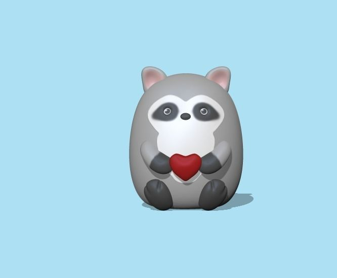 Raccoon with heart to decorate and play