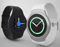 3D model Samsung Gear S2 Silver Black Clock