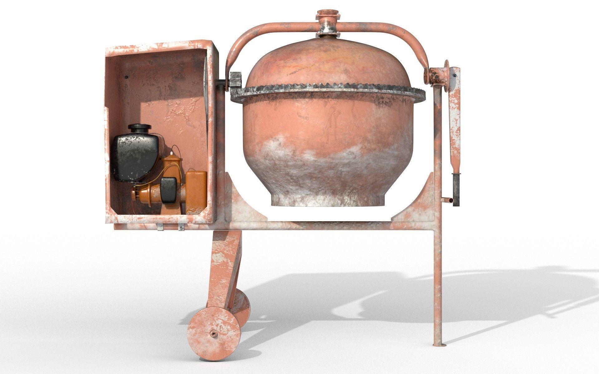 Worn Concrete Mixer High Poly
