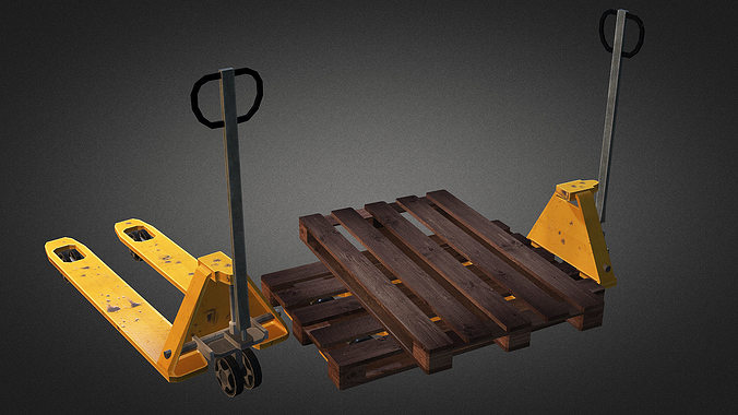 pallet truck and pallet 3d model low-poly max obj 3ds fbx dxf dwg 1