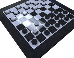game-ready 3d model checkers set
