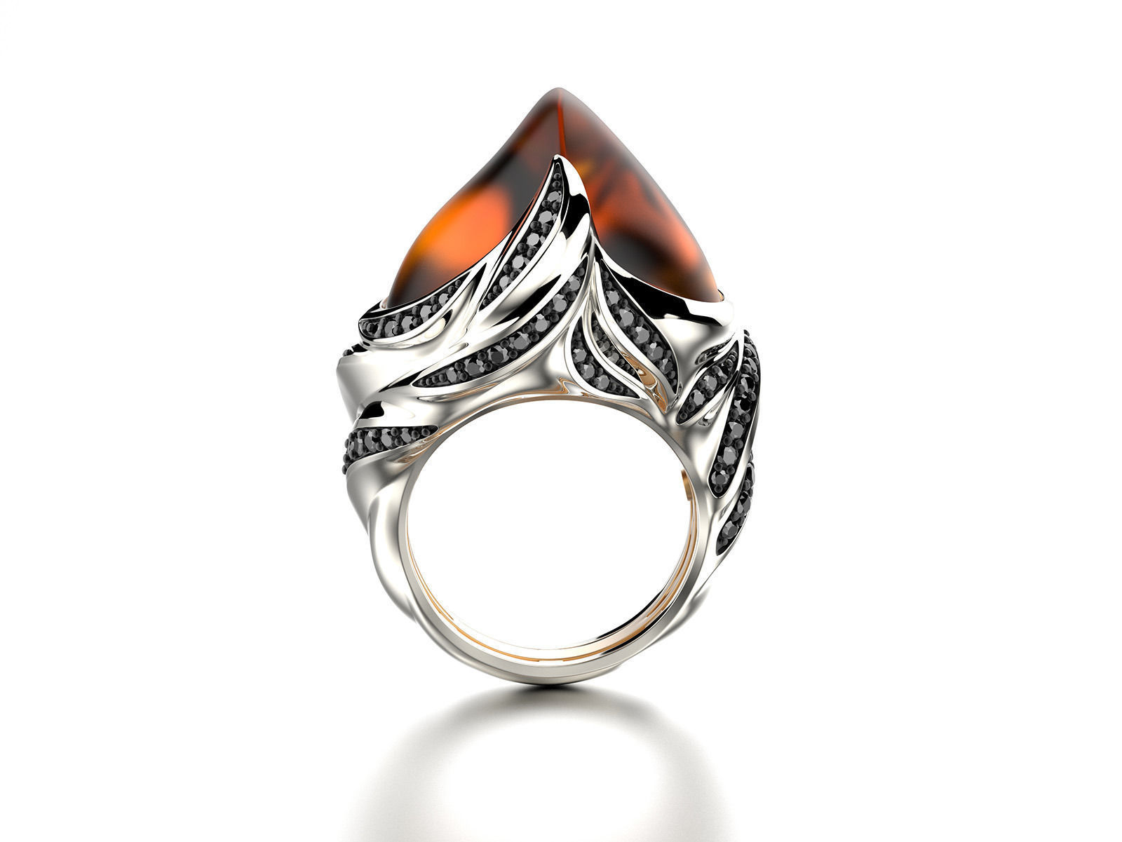 Exclusive fashion ring with fire opal