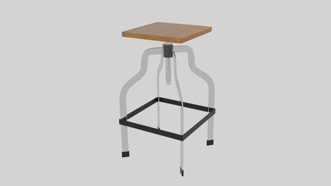screwed stool 3d model obj mtl 3ds fbx blend dae 1