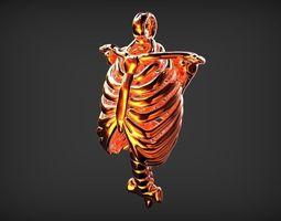 3d printable model human rib shape pendant