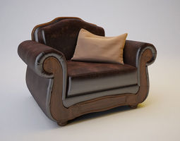 Barcelona Antique Armchair 3D Model