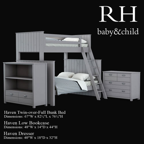 Haven Twin Over Full Bunk Bed 3d Model Cgtrader