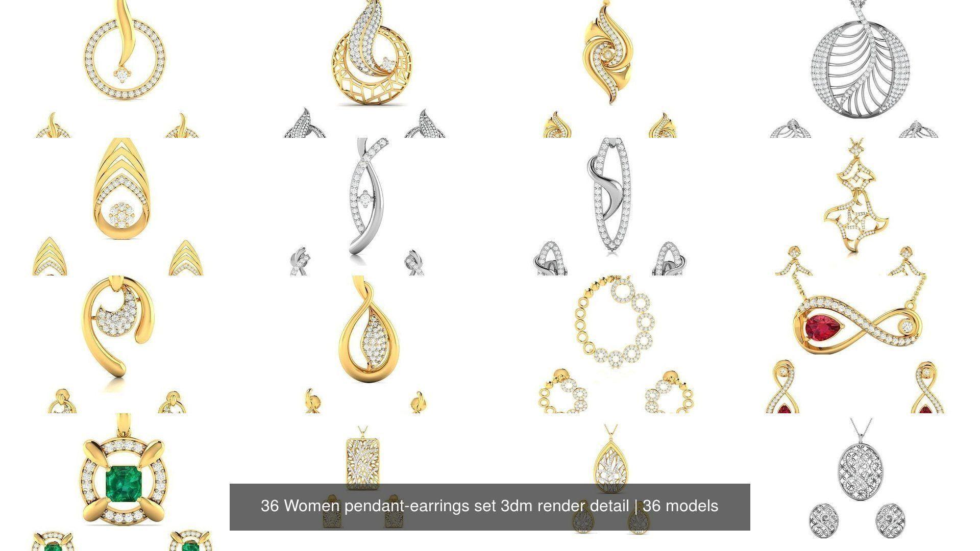 36 Women pendant-earrings set 3dm render detail
