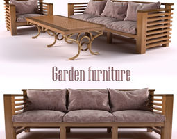3d model rigged realtime garden furniture