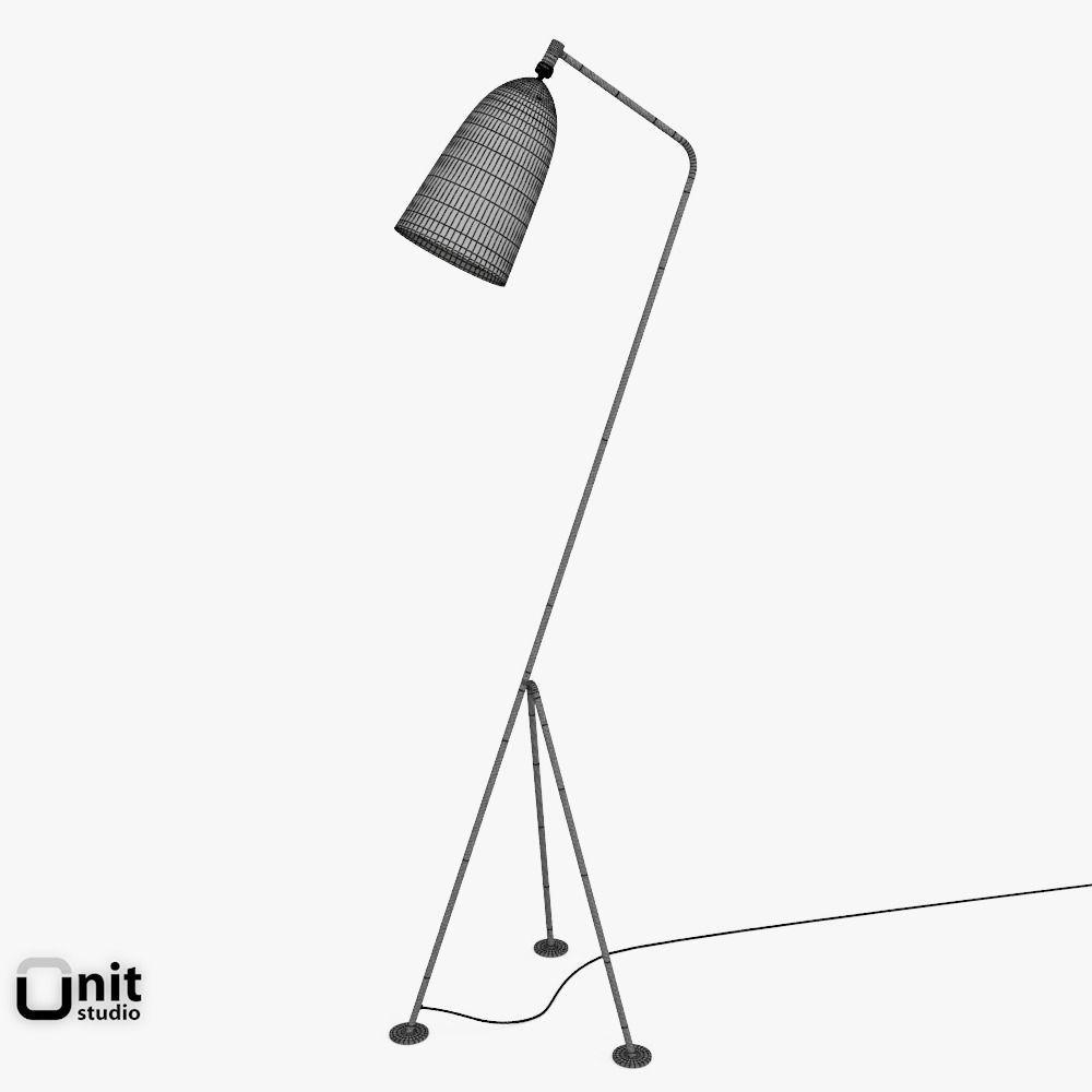gubi grasshopper floor lamp 3d model max obj 3ds fbx dwg. Black Bedroom Furniture Sets. Home Design Ideas