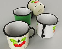 Authentic enamel mugs Soviet times 3D model