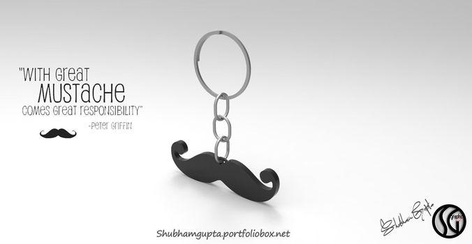 mustache keychain 3d model stl 1