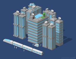 3D model Futuristic city or Modern city