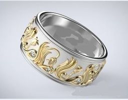 Wedding band with tulips 3D print model