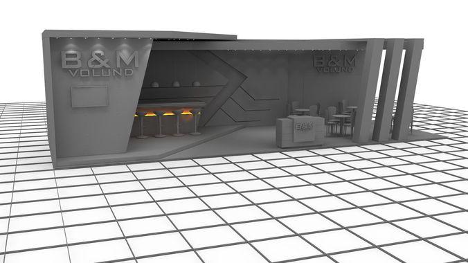 b m2 exhibition stand design 3d model max obj mtl fbx dwg cga cgf chr skin 1