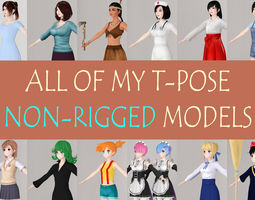 3D All of my T pose nonrigged girls