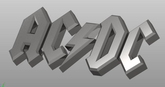 Acdc Font Free >> AC DC logo 27522 3D Model .dwg - CGTrader.com