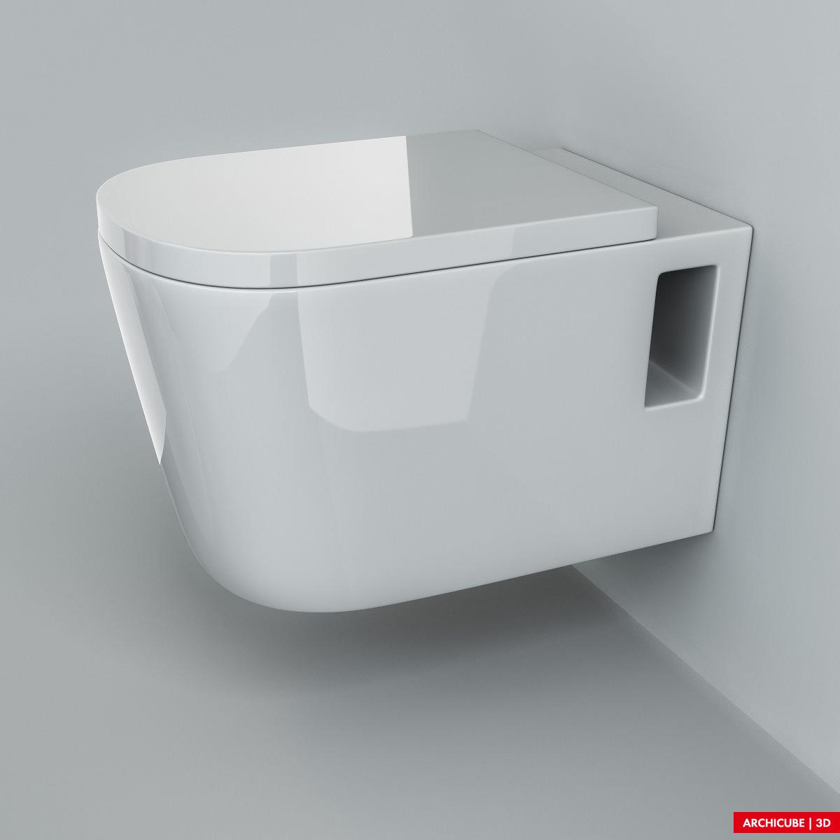 Wall mounted toilet 02 3d model max obj fbx - Toilet model ...