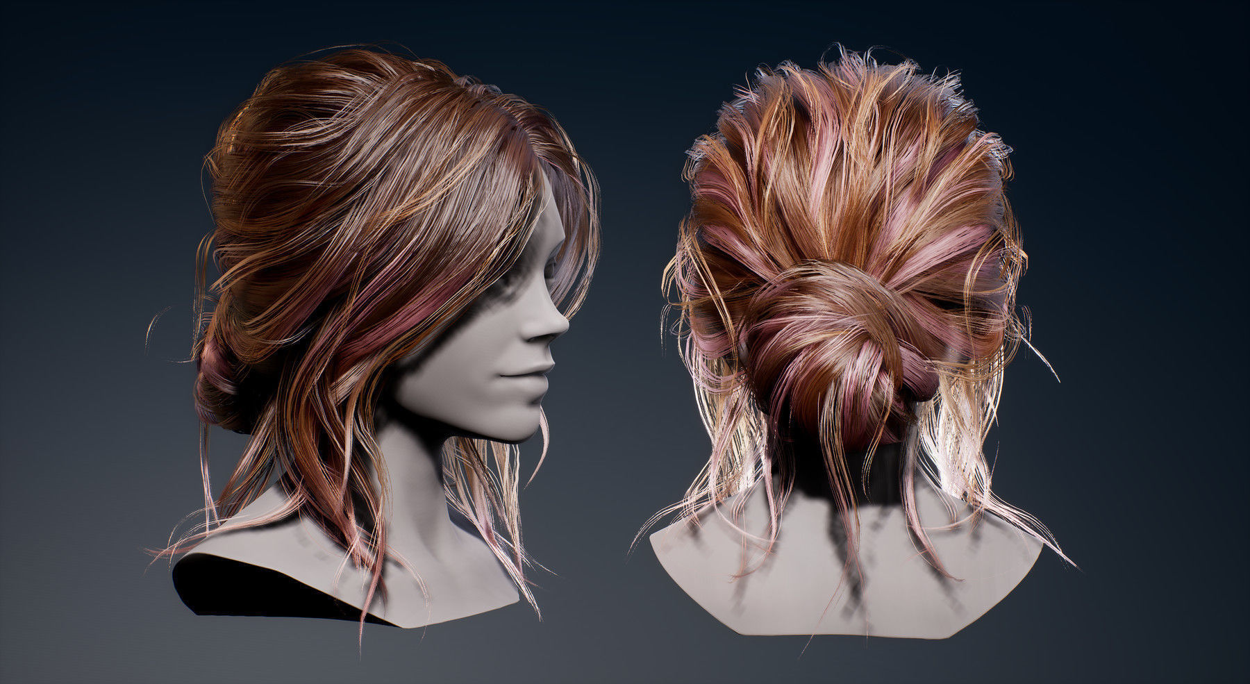 Game Real-Time Bun Hairstyle UE4
