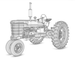 3d old tractor model