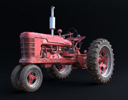 old tractor model with dirty textures 3d model obj fbx ma mb mtl