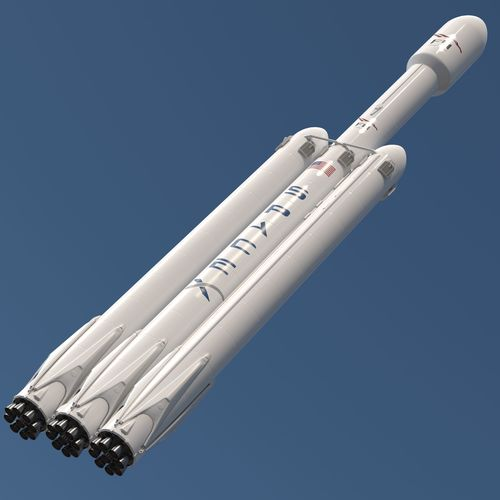 falcon heavy space x 3d model rigged animated max obj mtl fbx 1