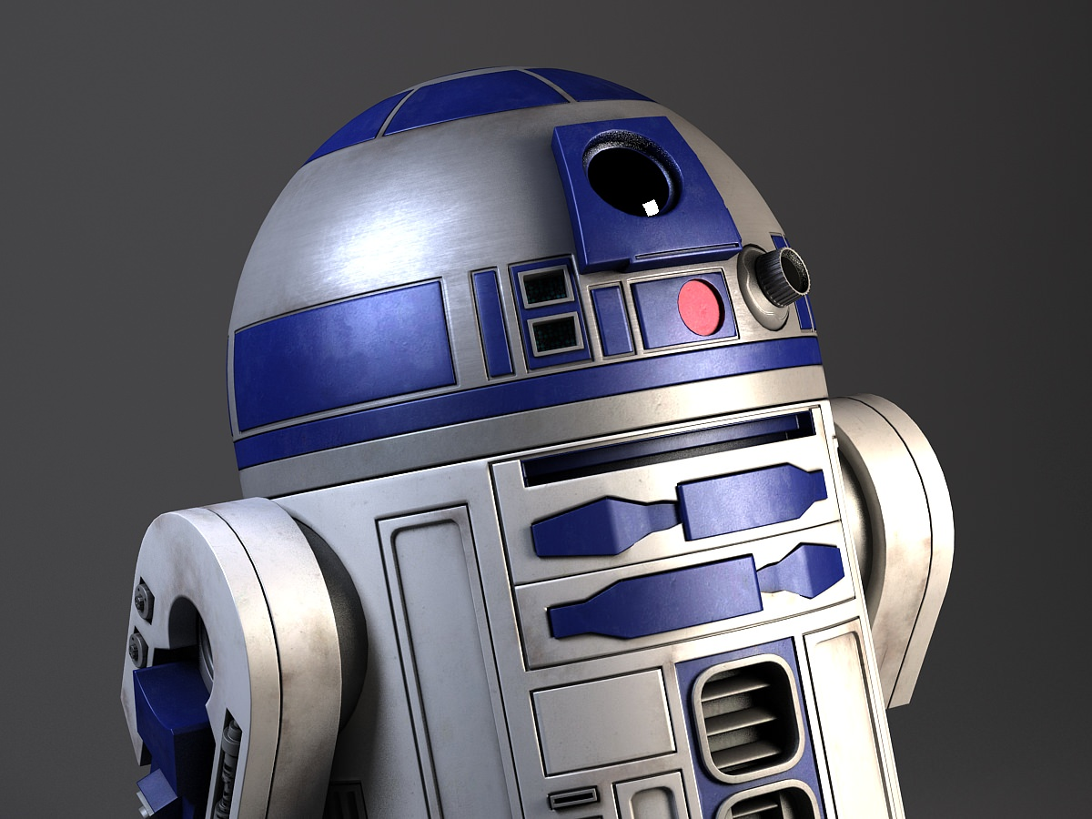 R2d2 star wars droid robot 3d model max obj 3ds fbx c4d - Robot blanc star wars ...