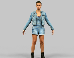 a-pose girl ready for rigging 3d model low-poly obj fbx