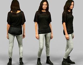 3D asset Girl in White Legging