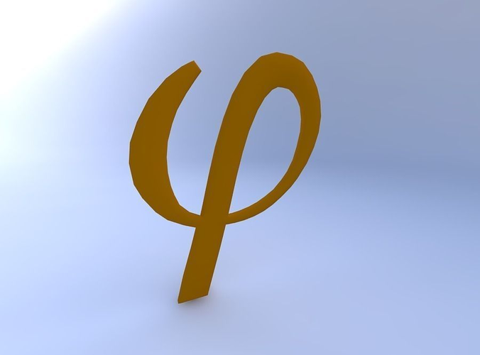 D Phi Paper Letter Template on printable box, cut out,