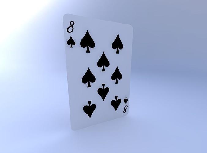 eight of spades 3d model obj mtl 1
