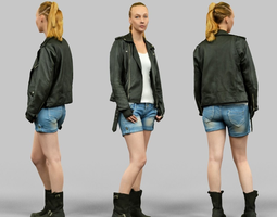 3d asset realtime woman wearing leather jacket and shorts
