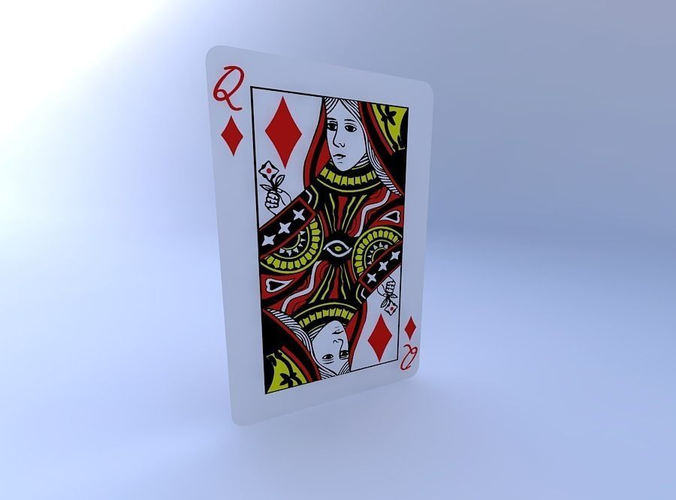 queen of diamonds 3d model obj mtl 1