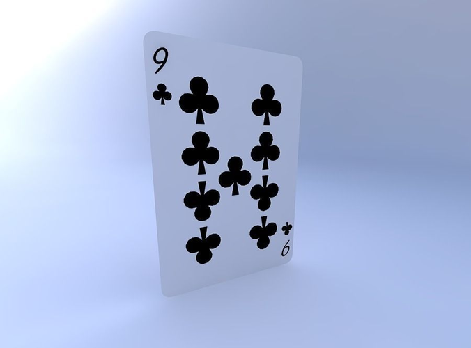 nine of clubs 3d model obj mtl 1