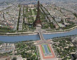 Paris City Eiffel Tower 3D Model