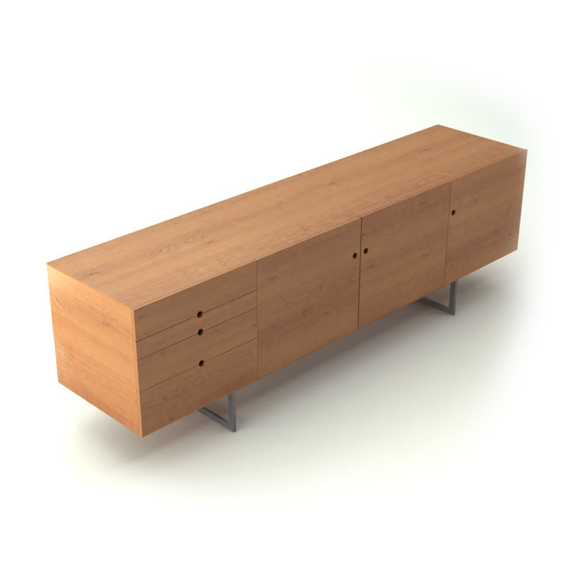 Contemporary Wooden Sideboard 3d Model Max Obj