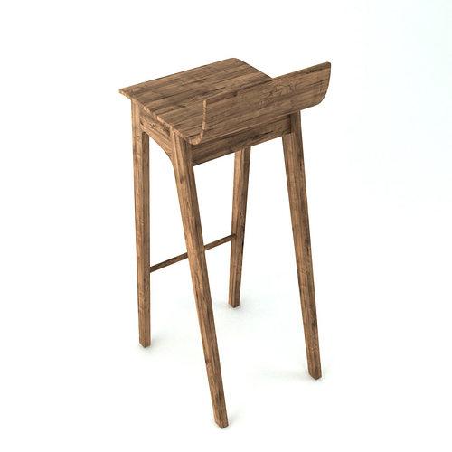 wooden barstool 3d model max obj stl mtl 3