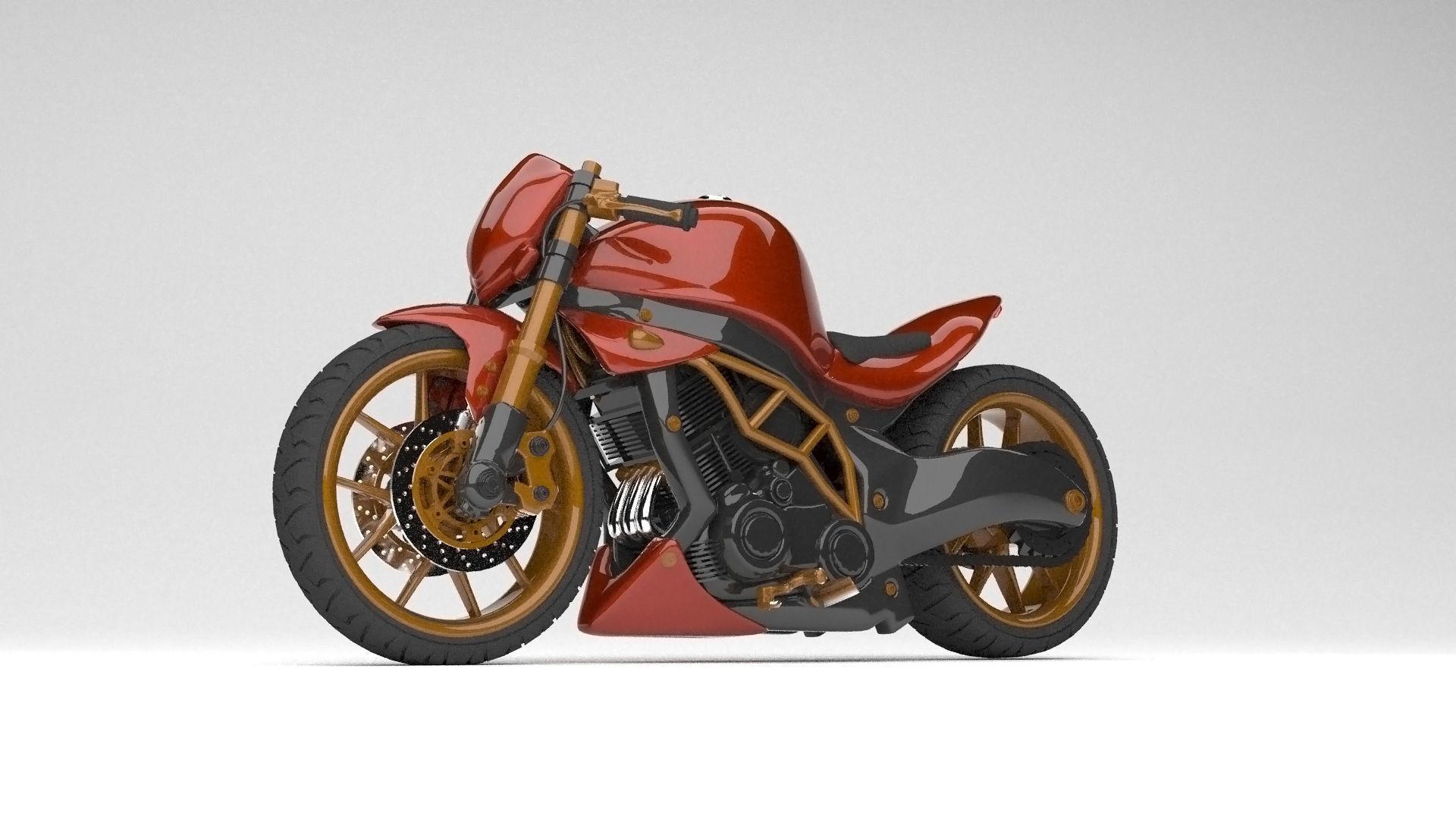 Naked Motor Bike 1000cc Modified Kawasaki modelling 3d max 2018