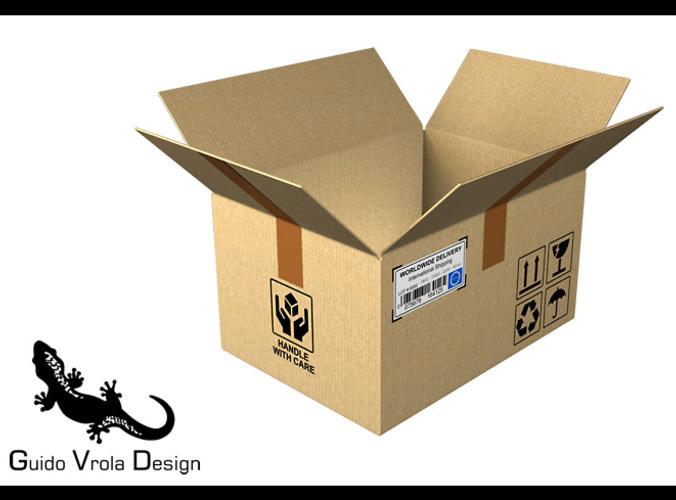 Open Cardboard box3D model