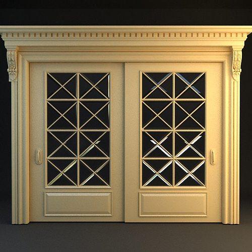 Single Wide Interior Doors : Wide double door d model max ds