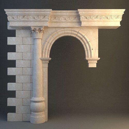 stone column arch 3d model max 3ds fbx 1